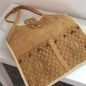 Vintage burlap purse